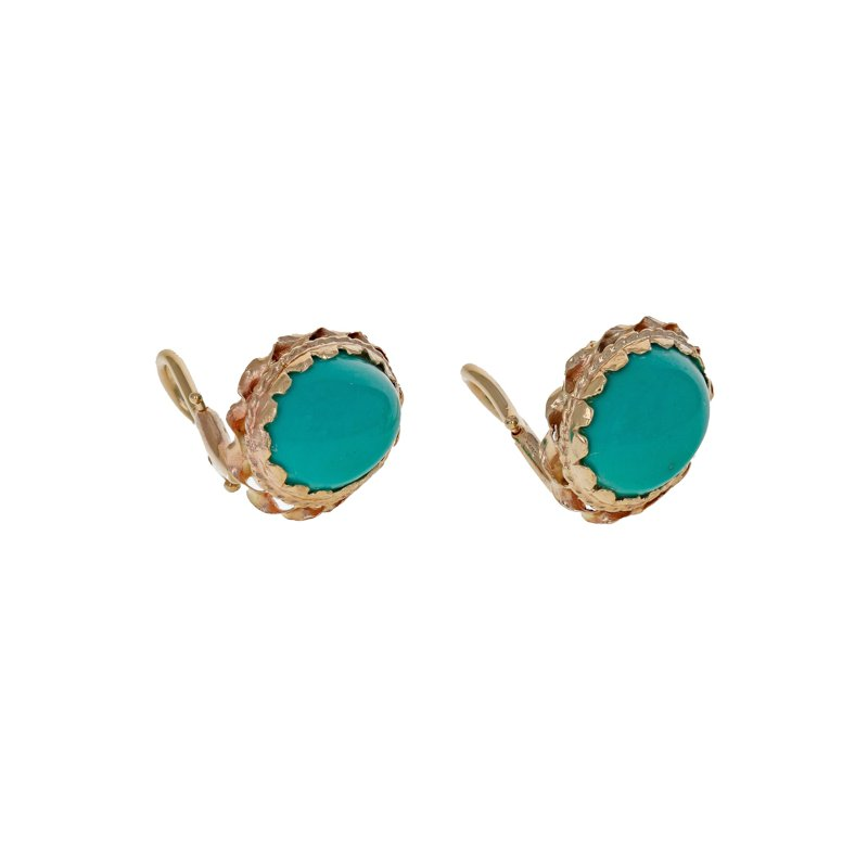 Estate Radcliffe Turquoise Cabochon Clip-On Earrings
