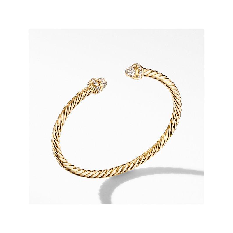 David Yurman Cable Bracelet in 18K Yellow Gold with Diamonds