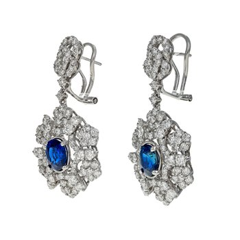 Diamond & Sapphire Drop Earrings