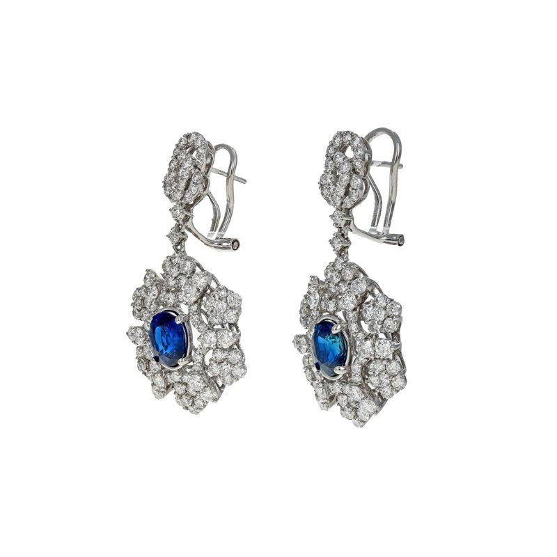 Estate Radcliffe Diamond & Sapphire Drop Earrings