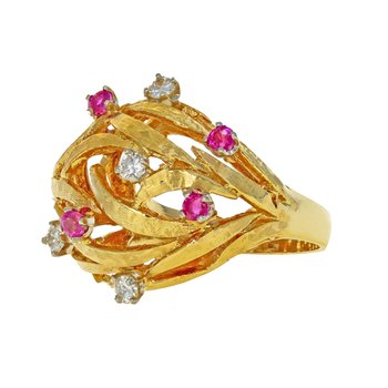 Diamond & Ruby Nest Ring