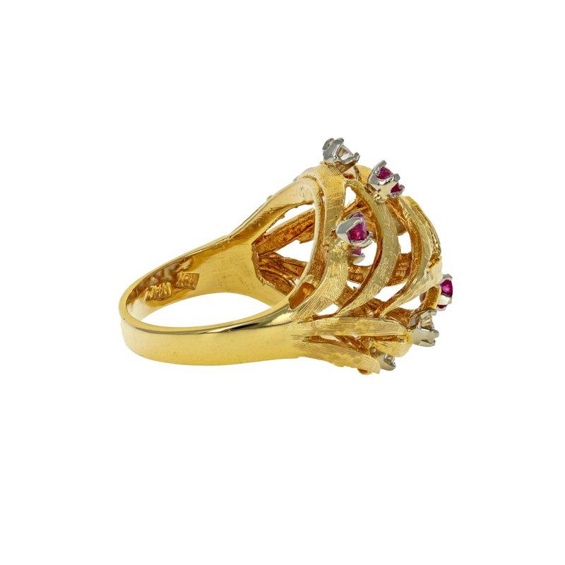 Estate Radcliffe Diamond & Ruby Nest Ring