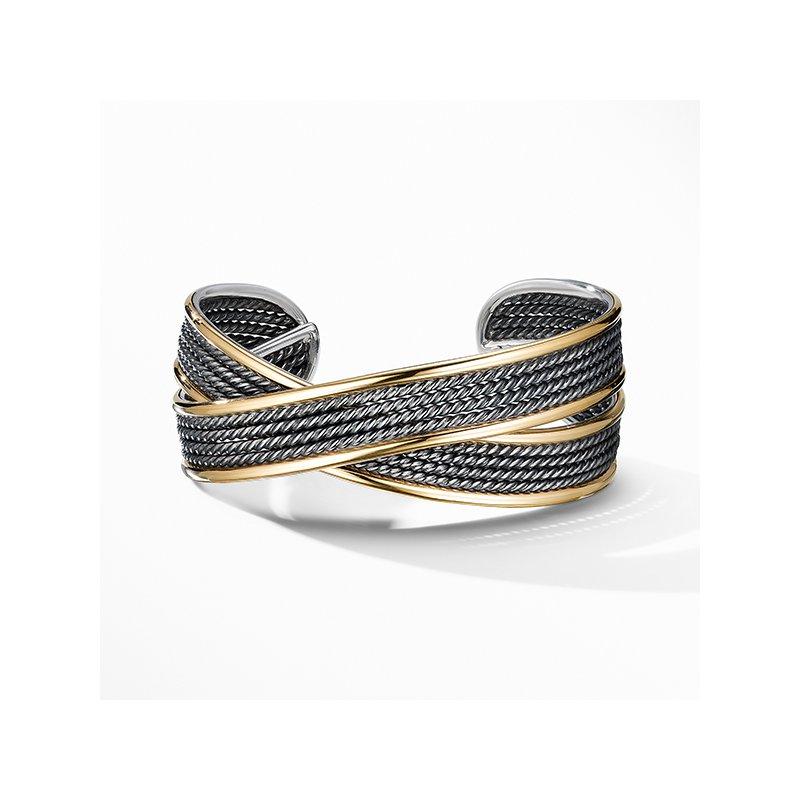 David Yurman DY Origami Narrow Cuff Bracelet in Blackened Silver