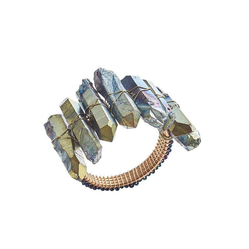 Kim Seybert Radiant Napkin Ring in Midnight Set/4