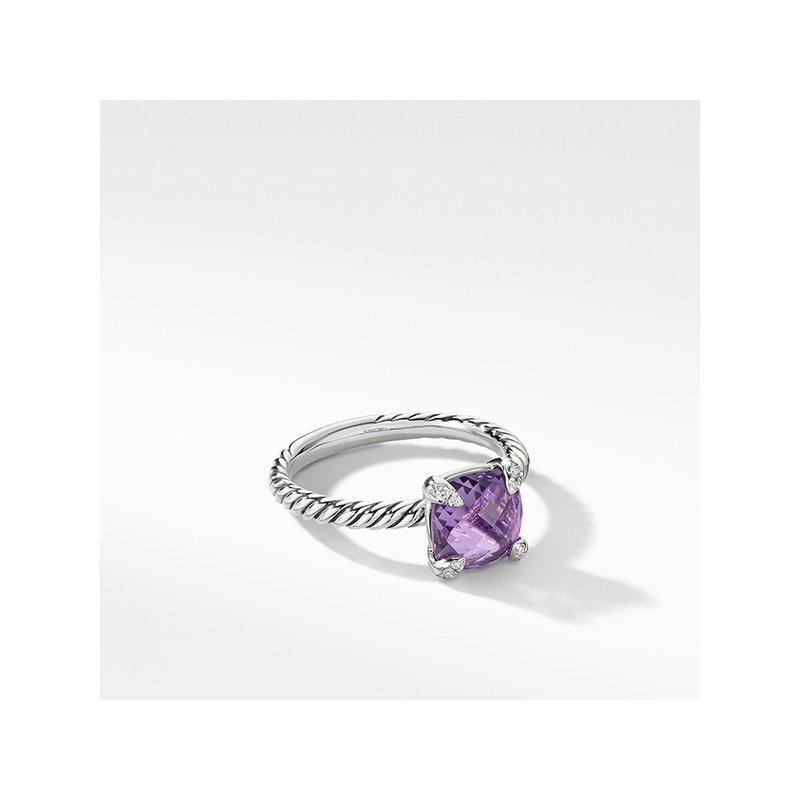 David Yurman Chatelaine Ring with Amethyst and Diamonds