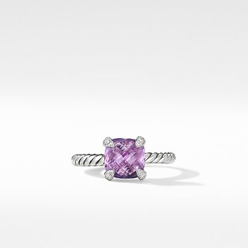Chatelaine Ring with Amethyst and Diamonds