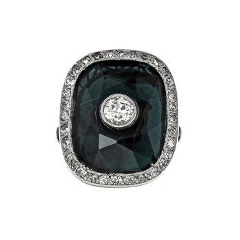 Antique Diamond & Natural Sapphire Ring