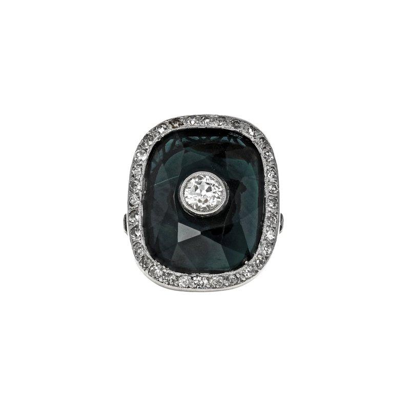 Estate Radcliffe Antique Diamond & Natural Sapphire Ring
