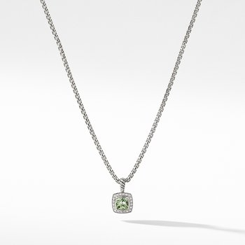 Petite Albion Pendant Necklace with Prasiolite and Diamonds