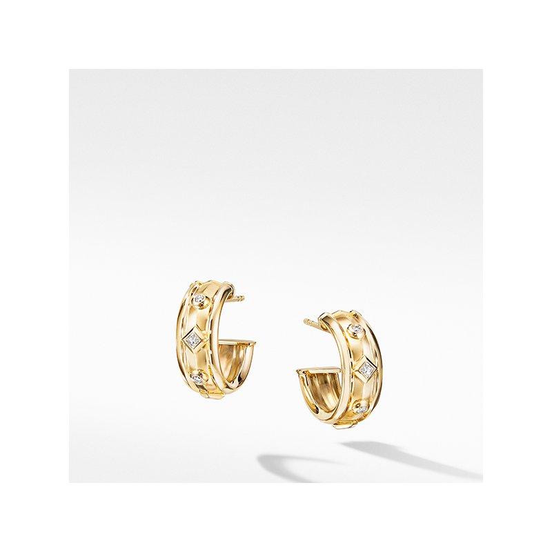 David Yurman Modern Renaissance Hoop Earrings in 18K Yellow Gold with Diamonds