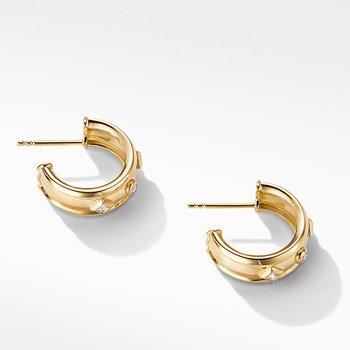 Modern Renaissance Hoop Earrings in 18K Yellow Gold with Diamonds