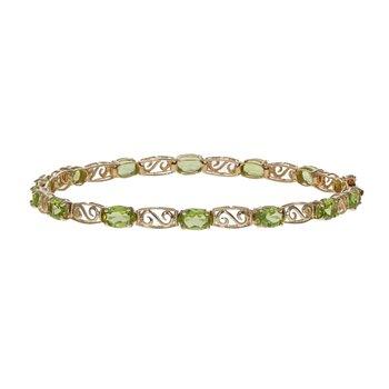Oval Peridot & Swirl Link Tennis Bracelet