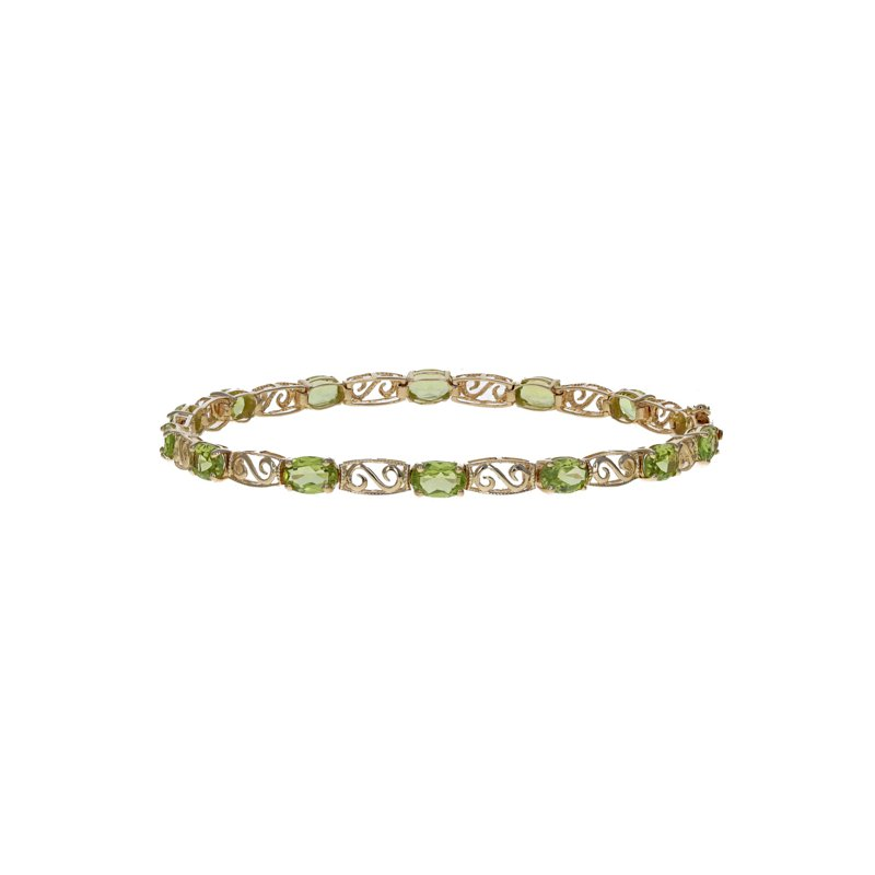 Estate Radcliffe Oval Peridot & Swirl Link Tennis Bracelet