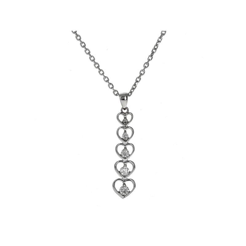 Estate Radcliffe Graduated Diamond Heart Necklace