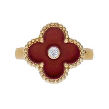 Vintage Alhambra Carnelian & Diamond Ring