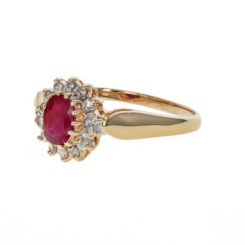 Ruby & Diamond Halo Ring