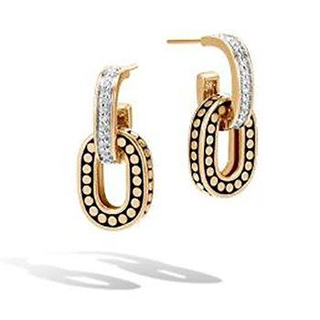 Dot Drop Earrings with Diamonds