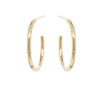 Medium Hoops with 4 Bead Set Diamonds