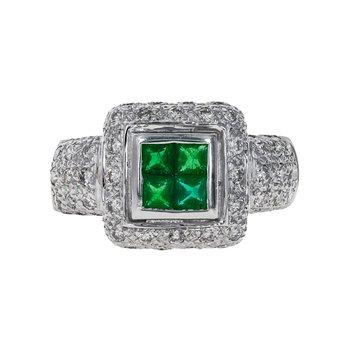 Diamond & Emerald Square Halo Ring