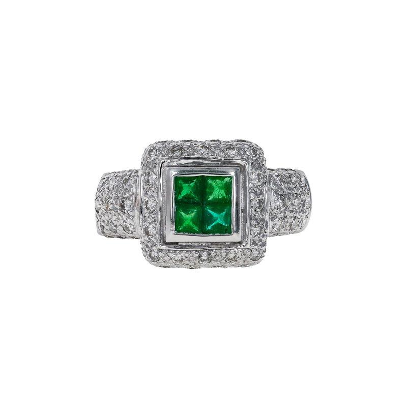 Estate Radcliffe Diamond & Emerald Square Halo Ring