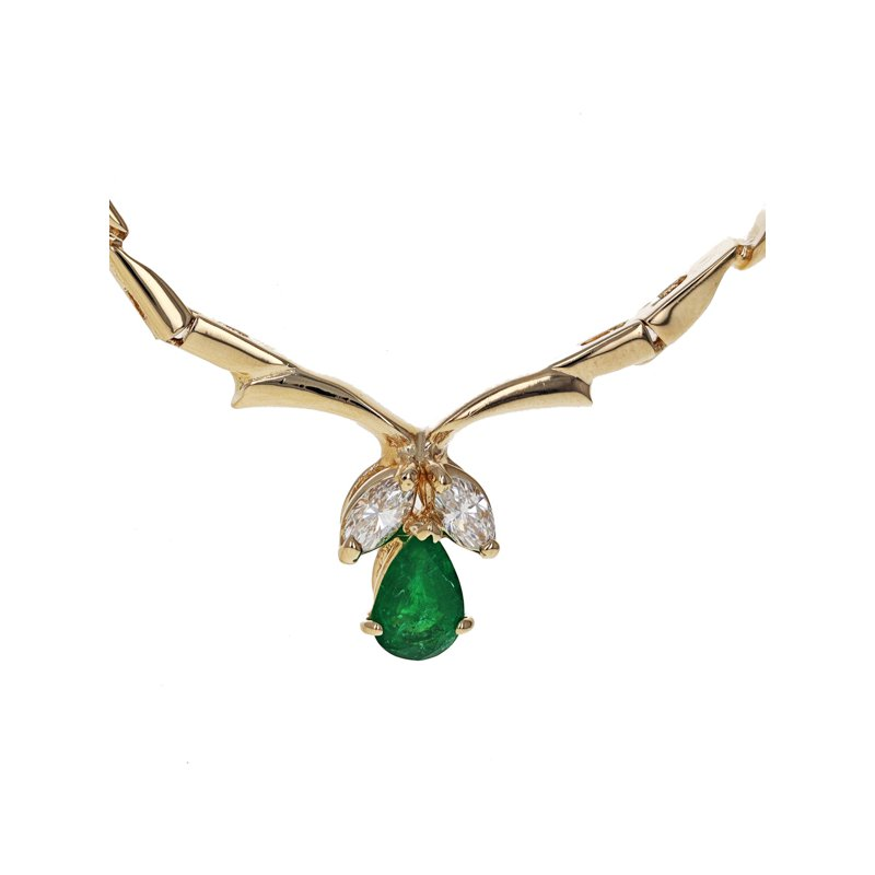 Estate Radcliffe Emerald & Diamond Stiff Link Collar Necklace