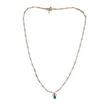 Emerald & Diamond Stiff Link Collar Necklace