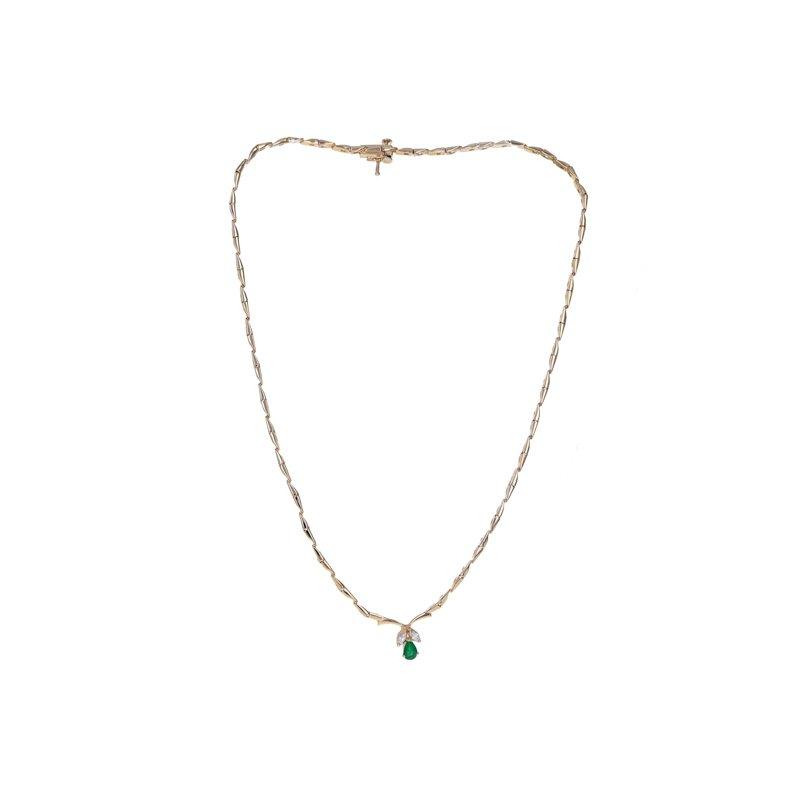 Estate Radcliffe Emerald & Diamond Stiff Link Collar Necklace