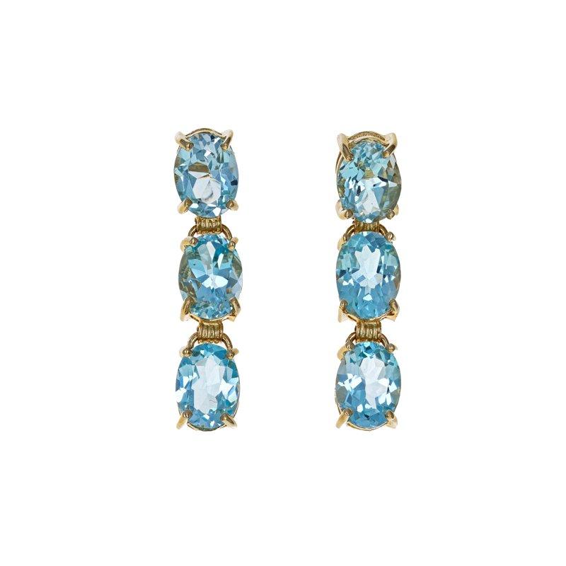 Estate Radcliffe Blue Topaz Drop Earrings
