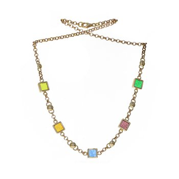 Glass Motif Circle Link Necklace