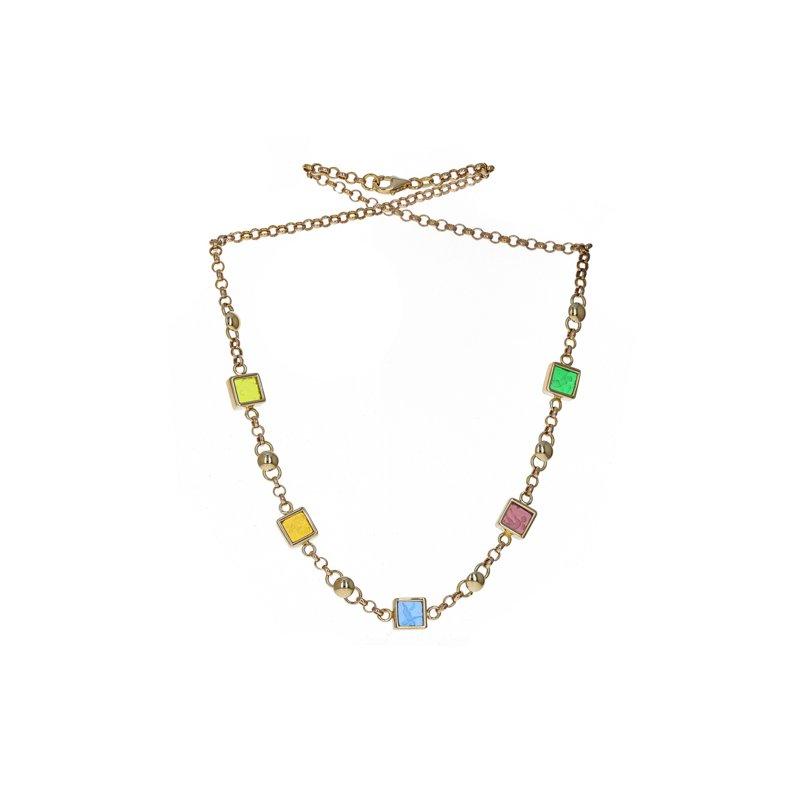 Estate Radcliffe Glass Motif Circle Link Necklace