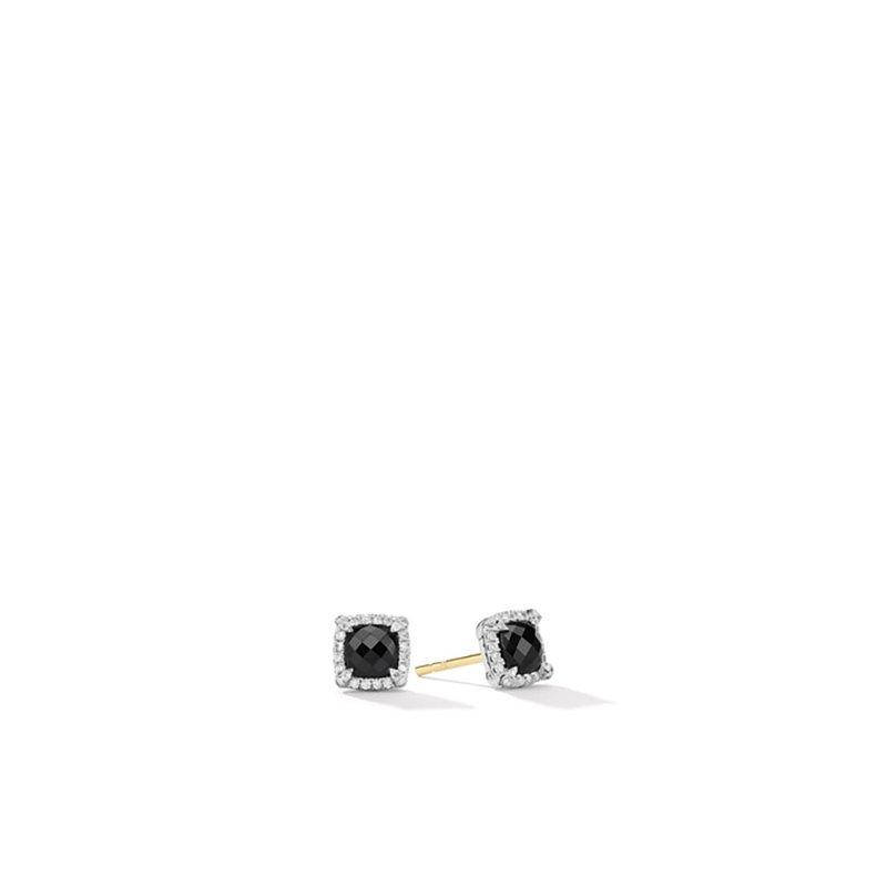 David Yurman Petite Chatelaine® Pavé Bezel Stud Earrings with Black Onyx and Diamonds