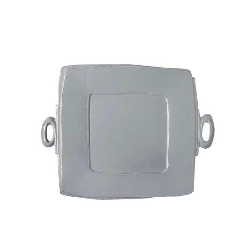 Vietri Lastra Gray Handled Square Platter