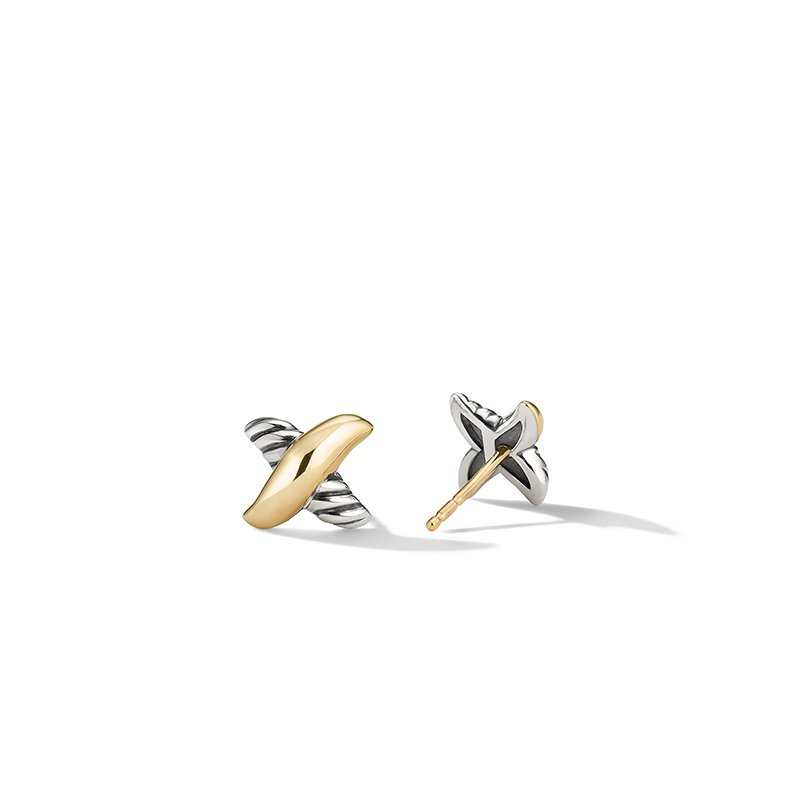 David Yurman Petite X Stud Earrings with 18K Yellow Gold