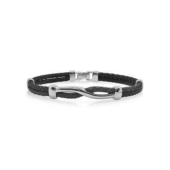 Black Cable & Black Leather Twist Bracelet