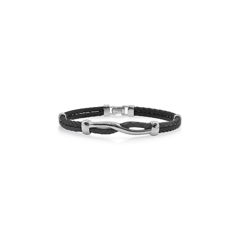 ALOR Black Cable & Black Leather Twist Bracelet