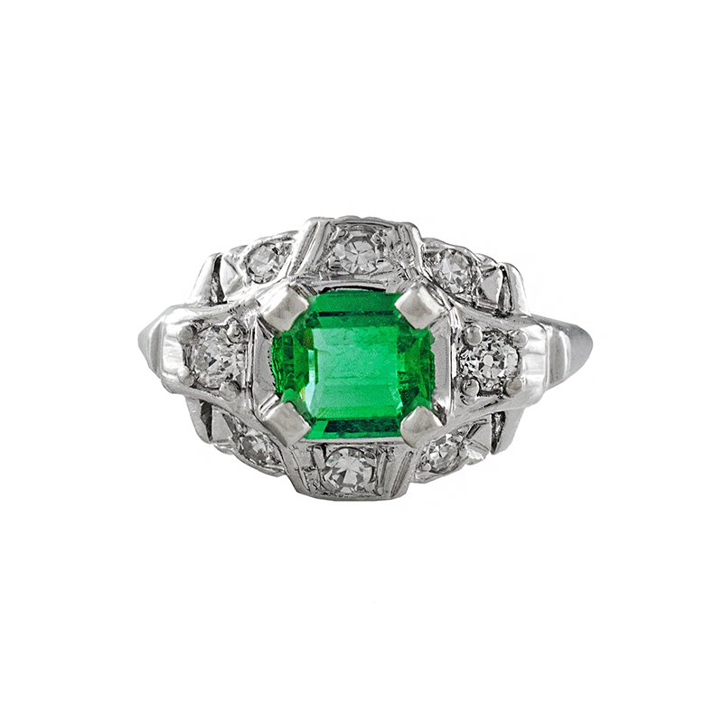 Estate Radcliffe Platinum Emerald & Diamond Ring