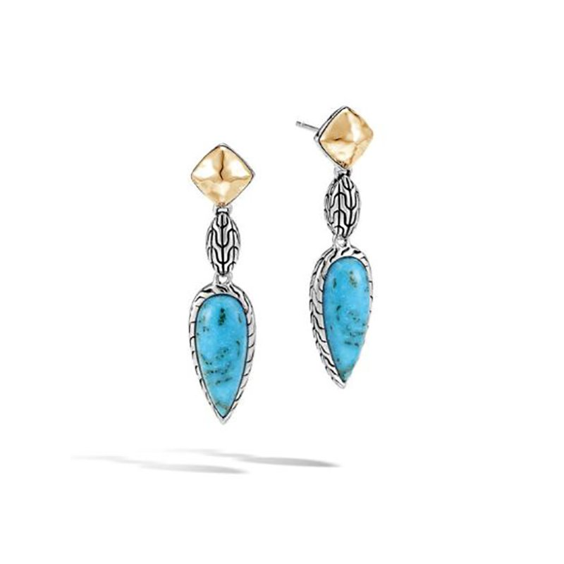 John Hardy Classic Chain Drop Earring with Turquoise