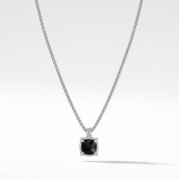 Chatelaine Pave Bezel Pendant Necklace with Black Onyx and Diamonds, 9mm