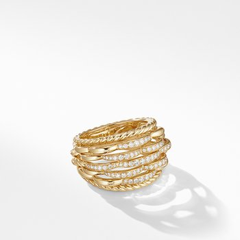 Tides Woven Ring in 18K Yellow Gold with Diamonds