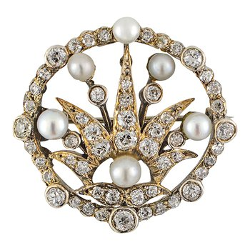 Old Mine Cut Diamond and Pearl Brooch