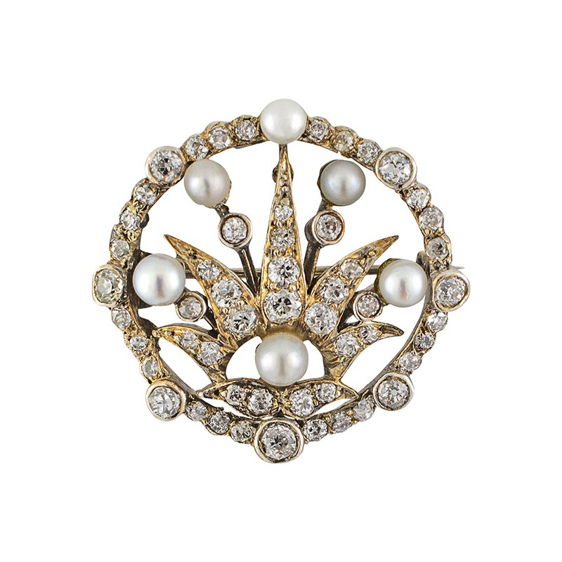 Estate Radcliffe Old Mine Cut Diamond and Pearl Brooch