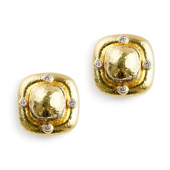 Square Gold Dome Earrings