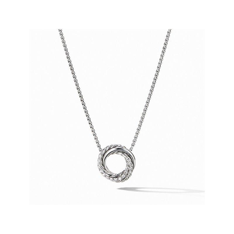David Yurman Crossover Mini Pendant Necklace with Diamonds