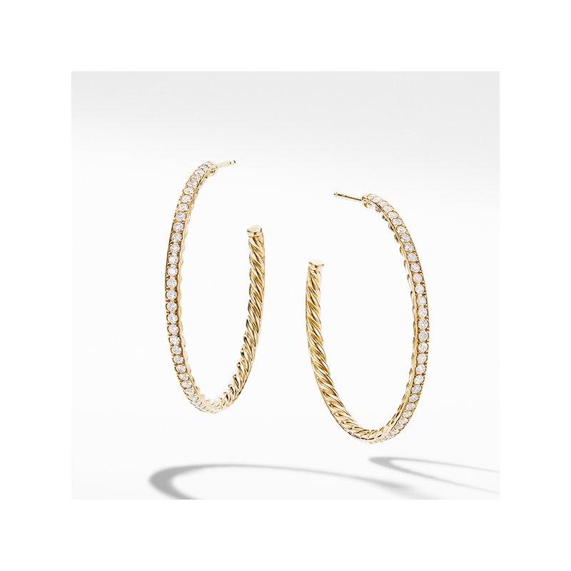 David Yurman Medium Hoop Earrings in 18K Yellow Gold with Pave Diamonds