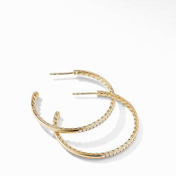 Medium Hoop Earrings in 18K Yellow Gold with Pave Diamonds