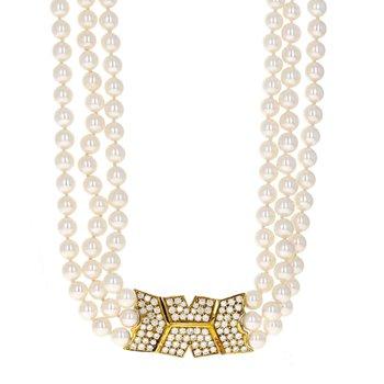 Three Strand Pearl & Diamond Clasp Necklace