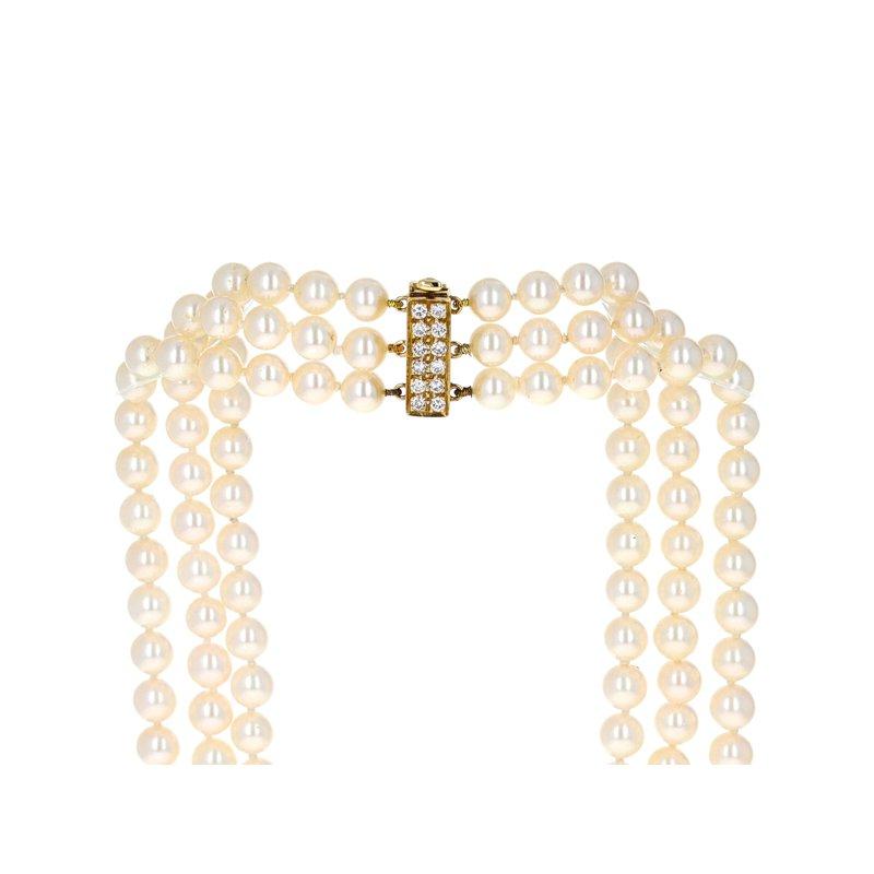 Estate Radcliffe Three Strand Pearl & Diamond Clasp Necklace