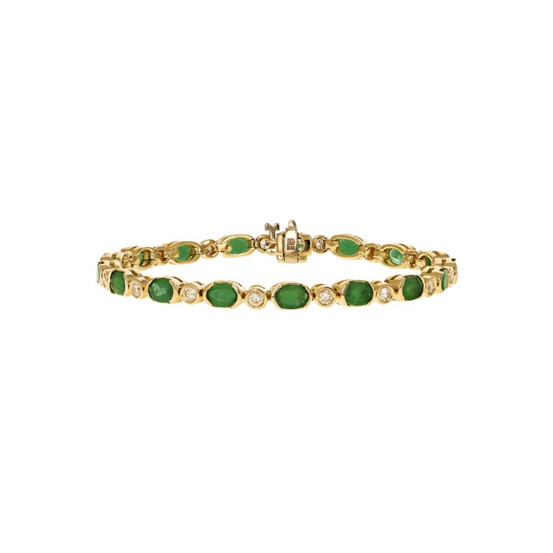 Estate Radcliffe Diamond & Emerald Tennis Bracelet