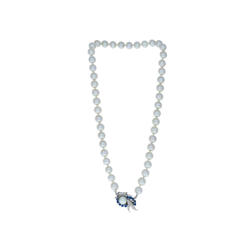 Estate Radcliffe Diamond & Sapphire Pearl Necklace