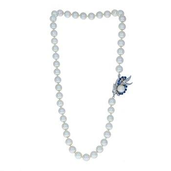 Diamond & Sapphire Pearl Necklace